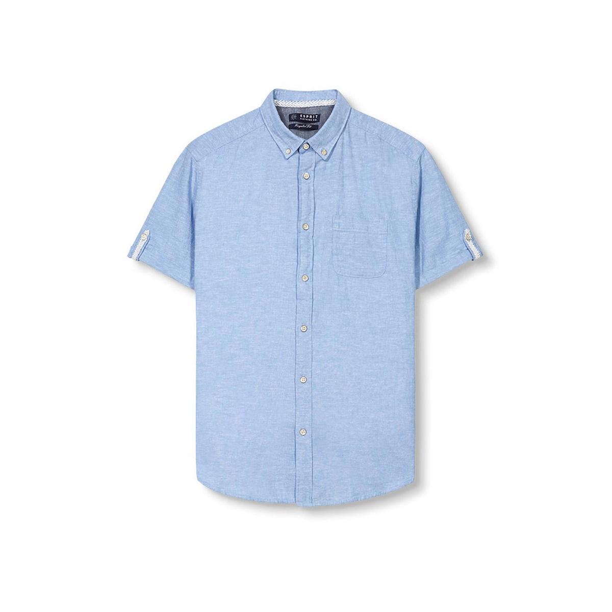 Рубашка с короткими рукавами из хлопка и льнаСостав и описание :Материал         76% хлопка, 24% льнаМарка         ESPRIT Уход :Машинная стирка при 30 °С с вещами схожих цветовСтирать и гладить с изнаночной стороныМашинная сушка в умеренном режимеГладить при низкой температуре<br><br>Цвет: небесно-голубой,темно-синий