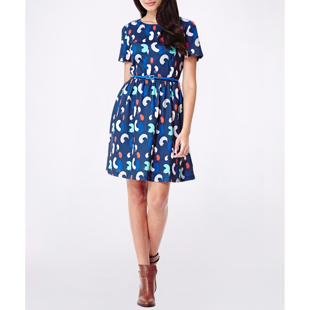 Платье расклешенное с рисунком и короткими рукавамиСостав и описание :Материал : 100% полиэстера.Марка : YUMIУход- Стирать при 30°C с вещами схожих цветов- Стирать и гладить с изнанки<br><br>Цвет: темно-синий<br>Размер: 44 (FR) - 50 (RUS)