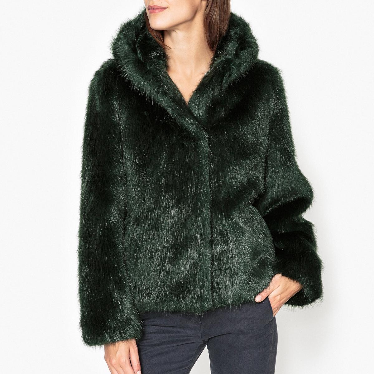 Пальто укороченное с капюшоном с эффектом меха ELECTRO пальто двухцветное с твидовым эффектом с капюшоном