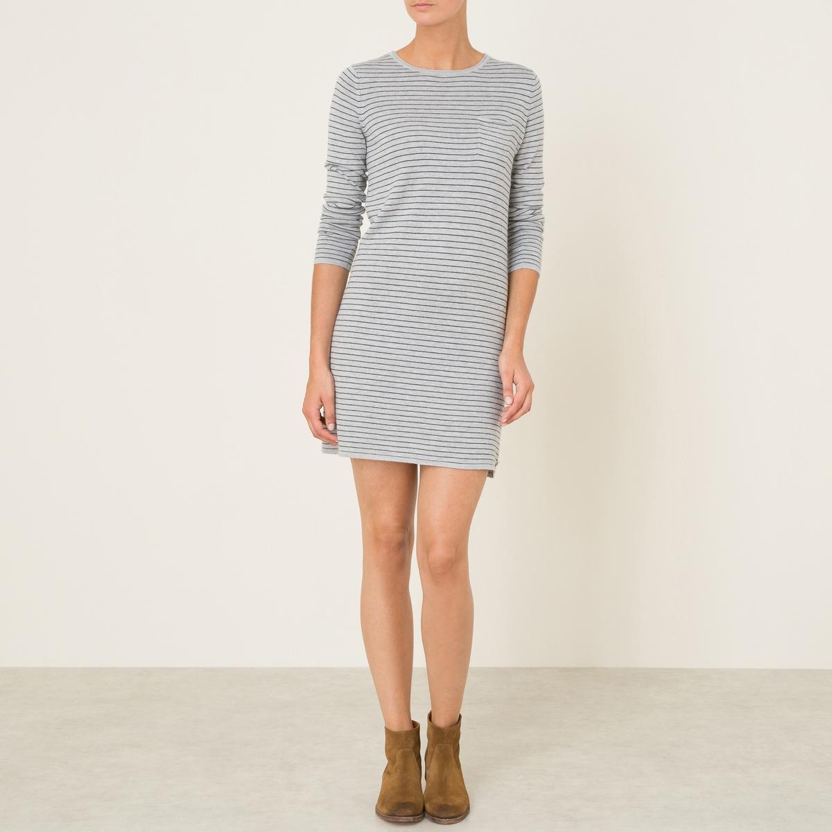 Платье-миди TANTALEПлатье-миди HARRIS WILSON - модель TANTALE. Трикотаж в полоску. Свободный вырез. 1 нагрудный карман. Длинные рукава. Состав и описание Материал : 30% хлопка, 30% полиамида, 25% шерсти, 12% вискозы, 3% кашемираДлина : 85 см (для размера 2)Марка : HARRIS WILSON<br><br>Цвет: серый/ темно-синий<br>Размер: S