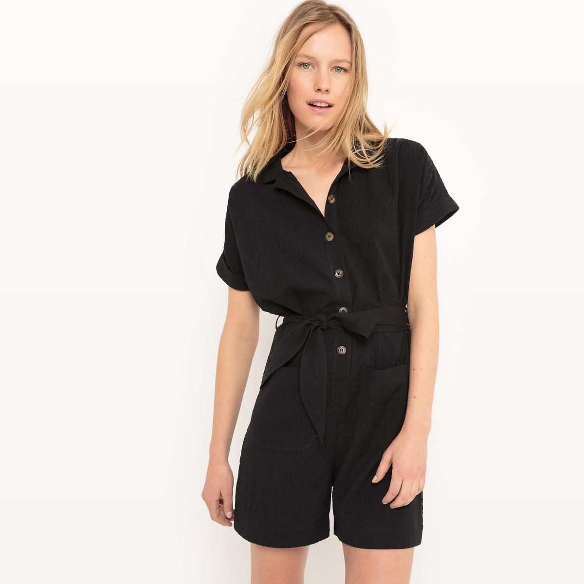 Комбинезон с шортами, короткие рукава, пояс с завязками