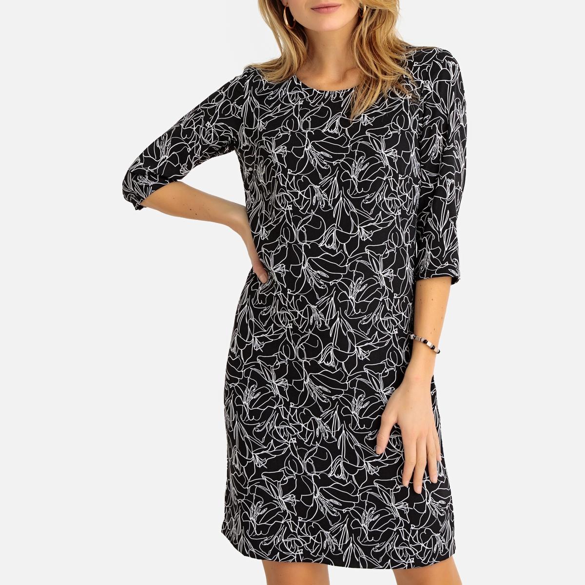Платье La Redoute Прямое с цветочным рисунком и рукавами 38 (FR) - 44 (RUS) черный платье прямое с цветочным рисунком и контрастной полосой сзади