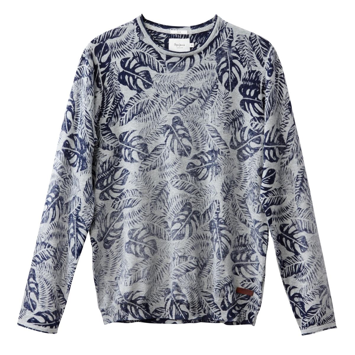 Пуловер с круглым вырезом, из тонкого трикотажаОписание:Детали •  Длинные рукава •  Круглый вырез •  Тонкий трикотаж •  Рисунок-принтСостав и уход •  100% хлопок •  Следуйте советам по уходу, указанным на этикетке<br><br>Цвет: серый