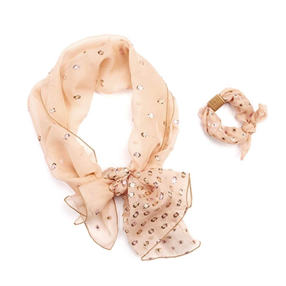 Parure foulard et bracelet à nouer en mousseline de soie et Fil textile Arabesque