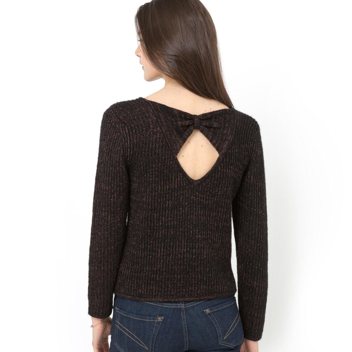 Пуловер из трикотажа с блеском, бант сзади