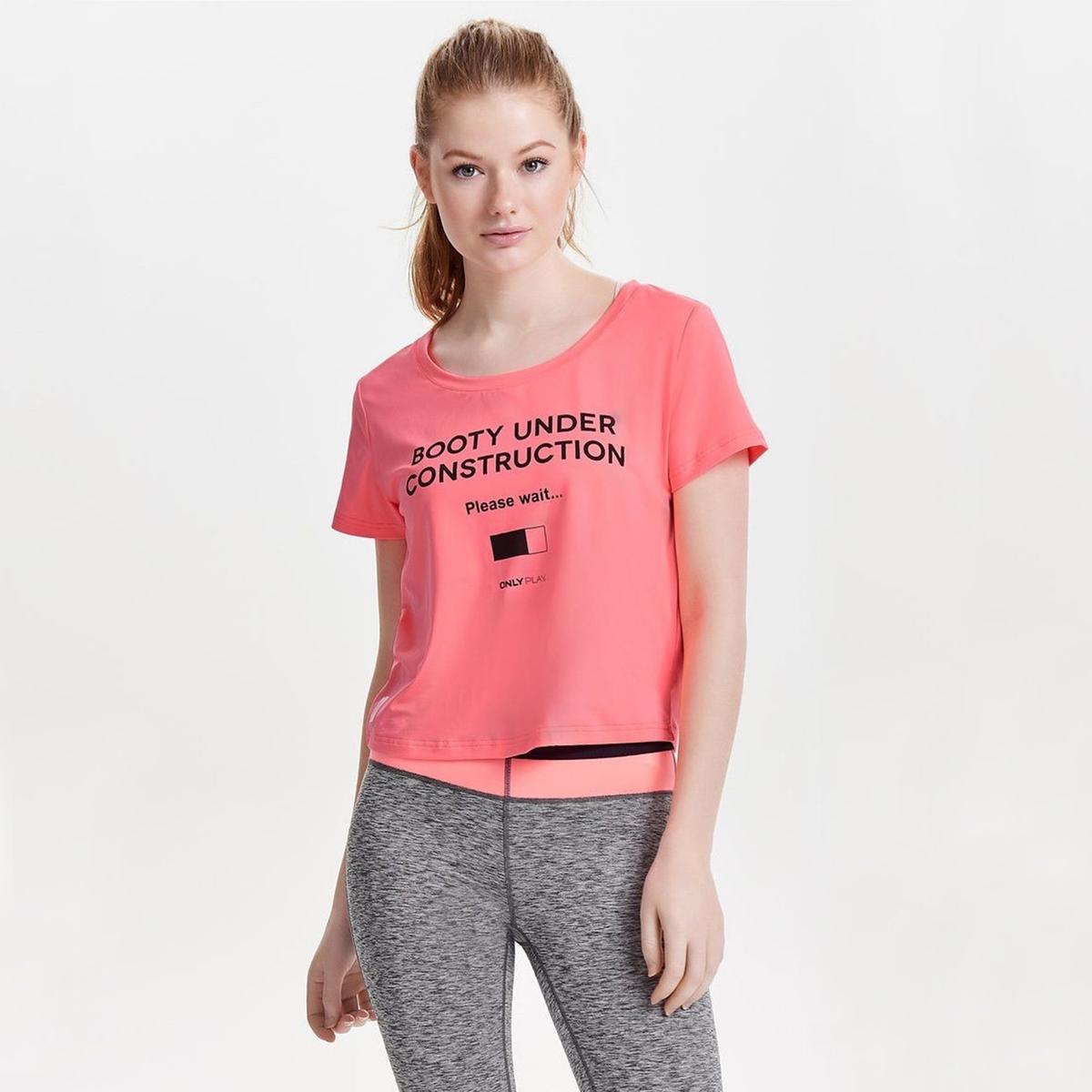 Футболка La Redoute С круглым вырезом короткими рукавами и рисунком спереди XS розовый футболка la redoute constance xs розовый