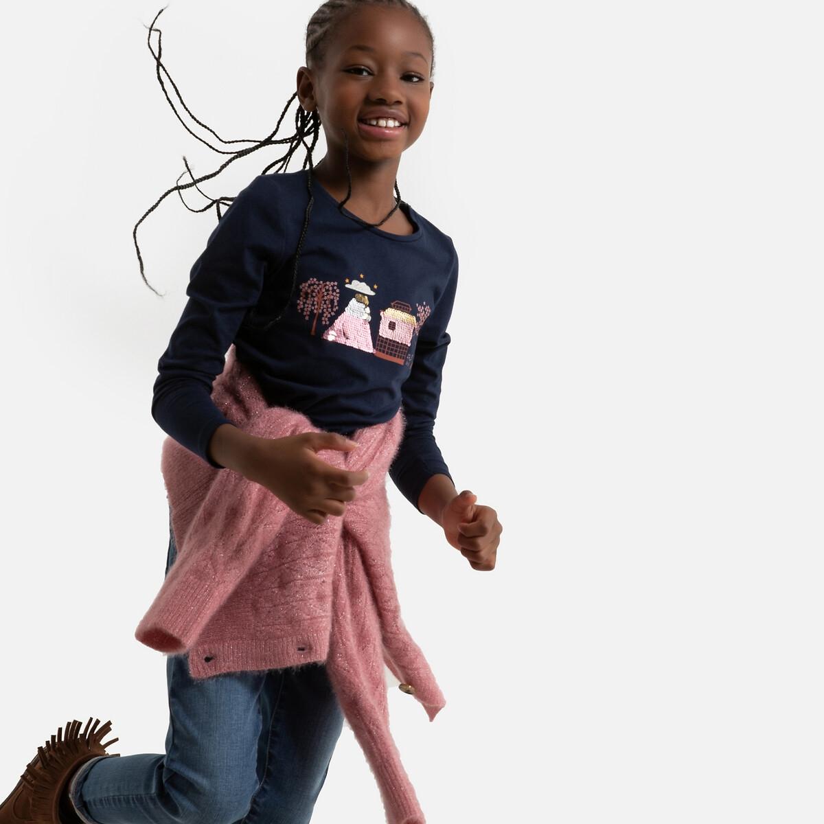 Фото - Футболка LaRedoute С длинными рукавами принт из блесток 3-12 лет 3 года - 94 см синий юбка laredoute прямая из легкого денима 3 12 лет 3 года 94 см синий