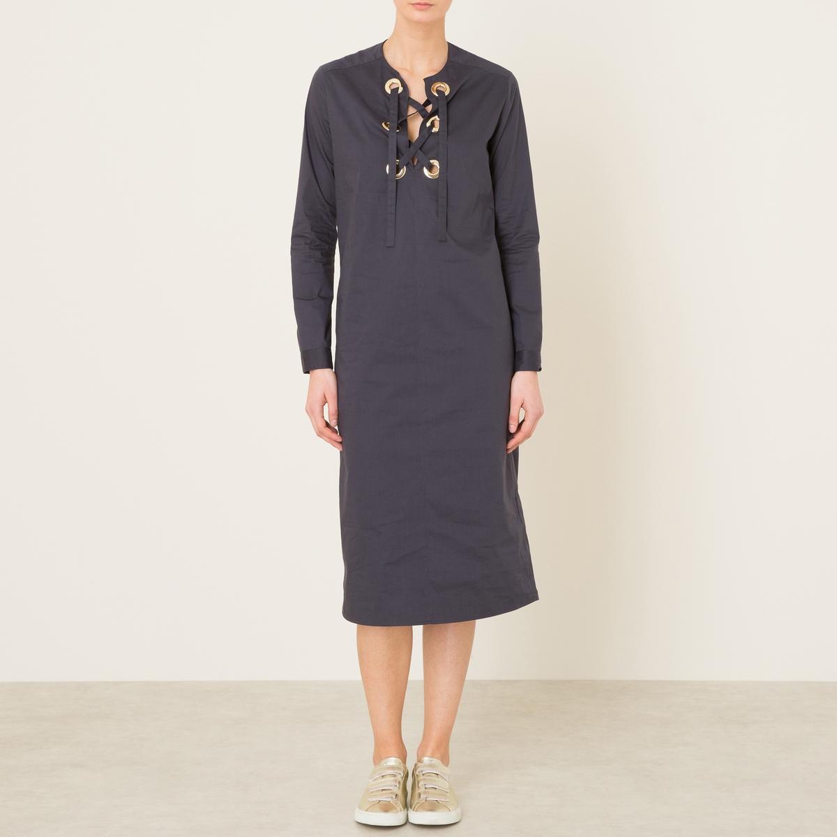 Платье длинноеСостав и описание   Материал : 100% хлопок   Марка : LAURENCE BRAS<br><br>Цвет: темно-синий<br>Размер: M