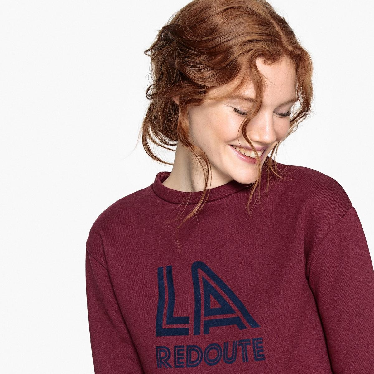Свитшот La Redoute Велюровый с принтом спереди S красный шорты la redoute плавательные с принтом джунгли мес года 18 мес 81 см синий