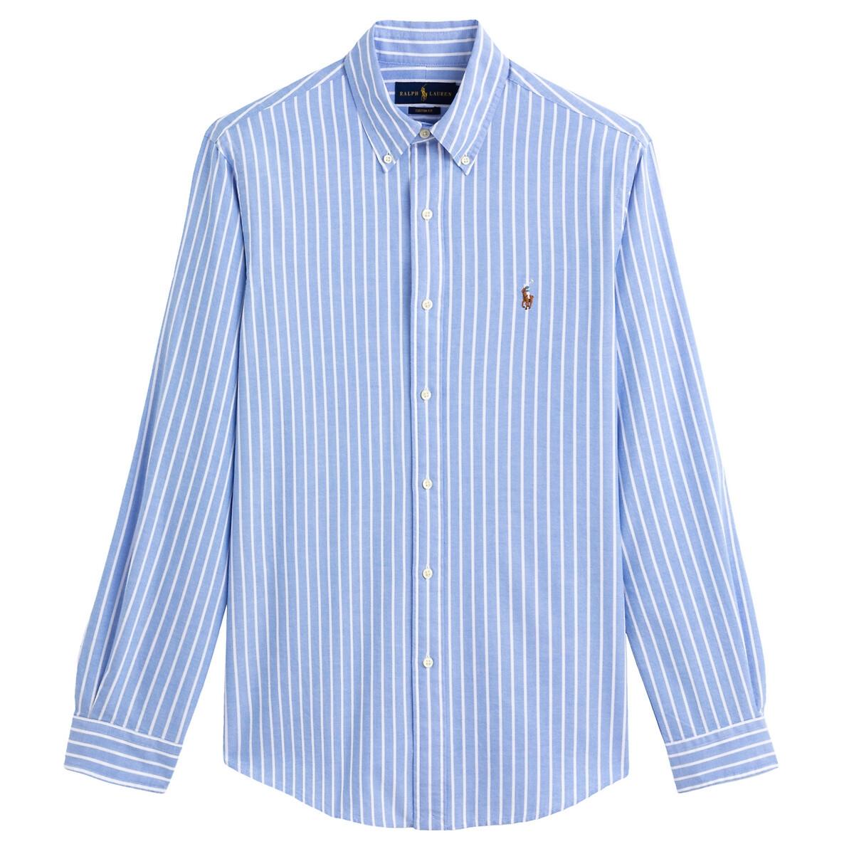 Рубашка LaRedoute Прямая из ткани оксфорд в полоску M синий
