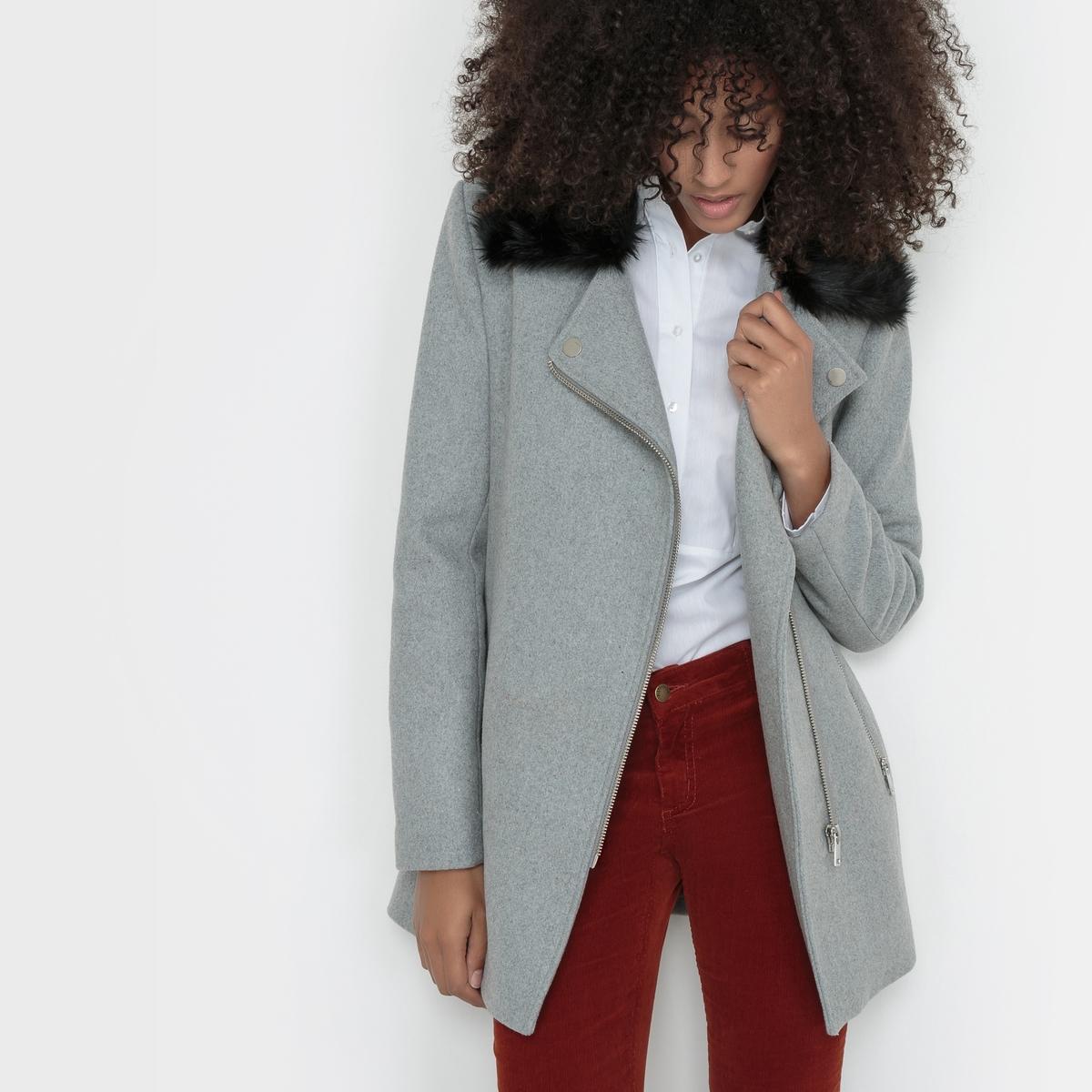 Пальто с асимметричной застежкой, 50% шерсти