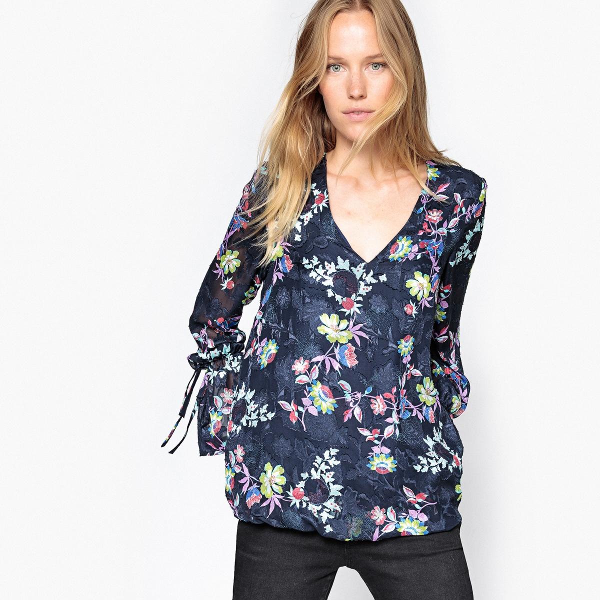Блузка LaRedoute С запахом и фактурным цветочным рисунком 38 (FR) - 44 (RUS) синий блузка laredoute с рубашечным воротником и вышивкой 38 fr 44 rus синий
