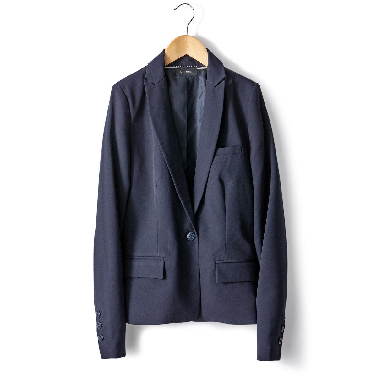 Жакет приталенный2 прорезных кармана с клапанами + 1 нагрудный прорезной карман. Низ рукавов с пуговицами.Подкладка из полиэстера.Длина 56 см. (на рост до 170 см).Есть длина 62 см.<br><br>Цвет: серый меланж,синий морской<br>Размер: 46 (FR) - 52 (RUS).48 (FR) - 54 (RUS).46 (FR) - 52 (RUS)