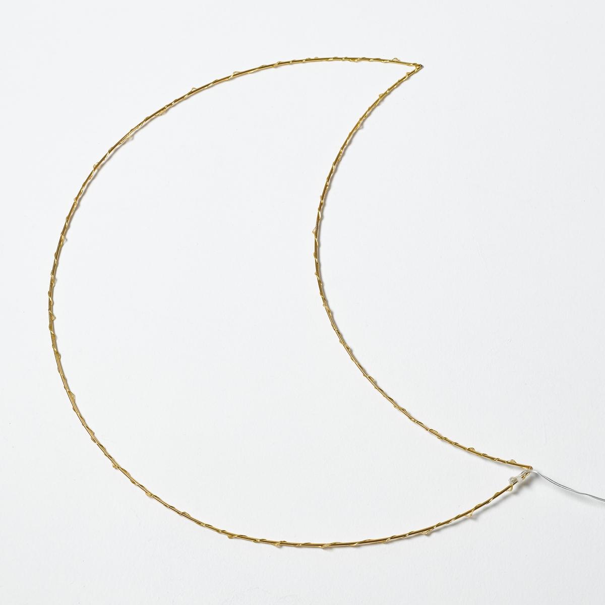 Светодиодный светильник в форме луны OmaraLa Redoute<br>Светильник Omara. Светящаяся гирлянда в форме луны. Поэтичный и декоративный светильник понравится малышам.Характеристики :- 40 миниатюрных светодиодов, 3 В, на металлическом кабеле- Не нагревается- Несменные лампы- Поставляется с адаптером 220 В, длина провода 3 м. - Без выключателя   Размеры :- Ш.27 x В.56 x Г.0,5 см.<br><br>Цвет: латунь<br>Размер: единый размер