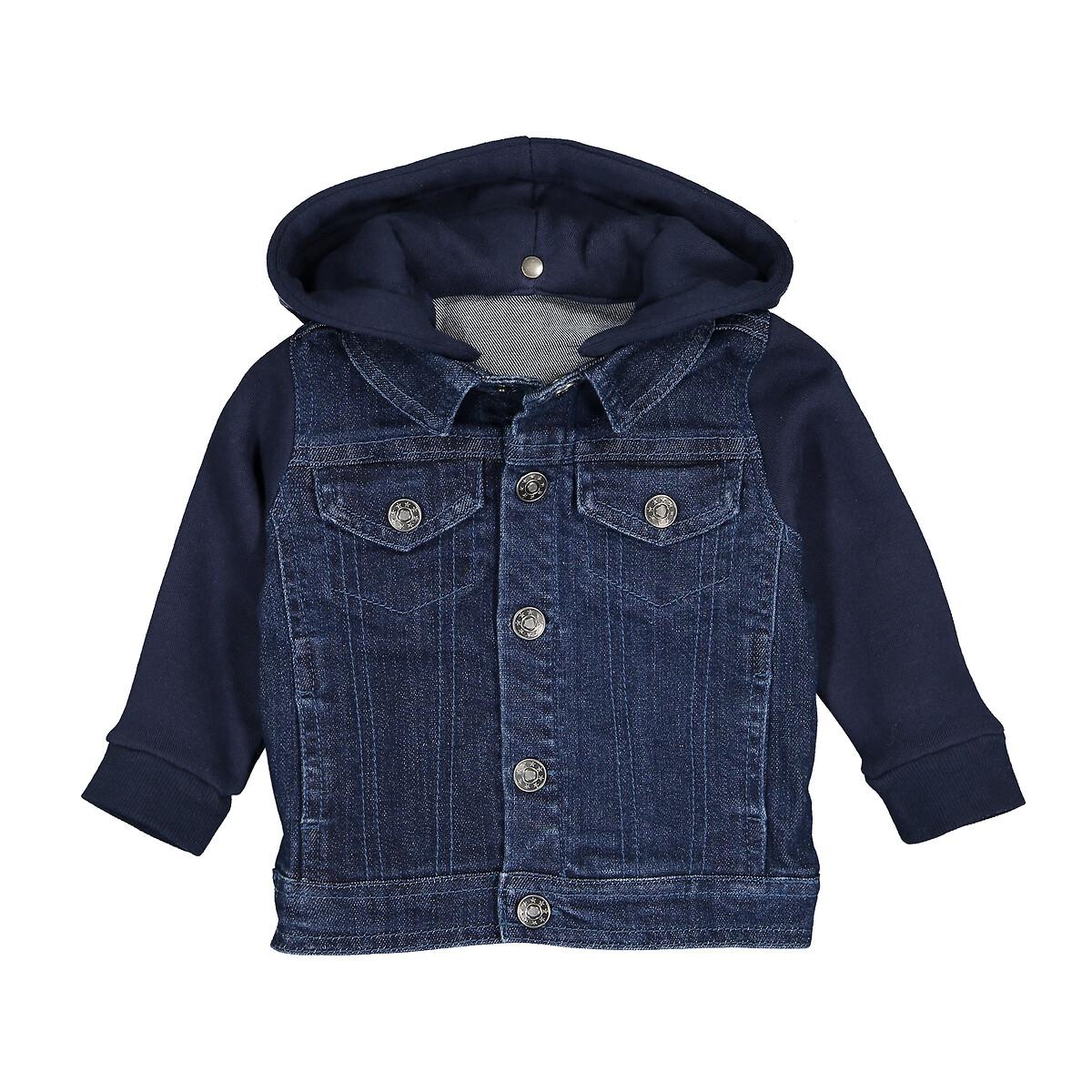 Куртка LaRedoute Джинсовая из мольтона с капюшоном 3 мес-3 лет 9 мес. - 71 см синий брюки laredoute из мольтона с бантом 1 мес 3 года 9 мес 71 см розовый