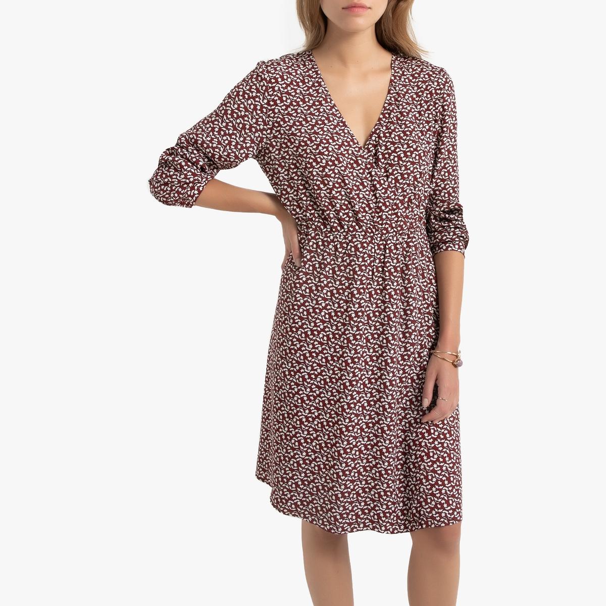Платье La Redoute Расклешенное с V-образным вырезом длиной до колен L каштановый цена