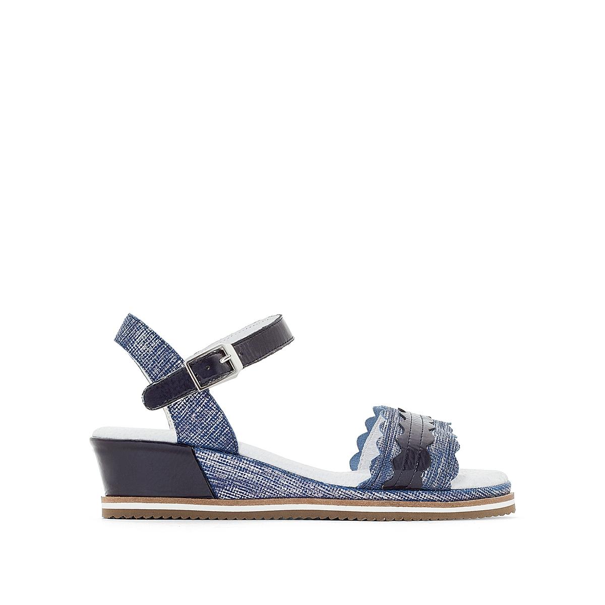 Sandálias de cunha, em pele