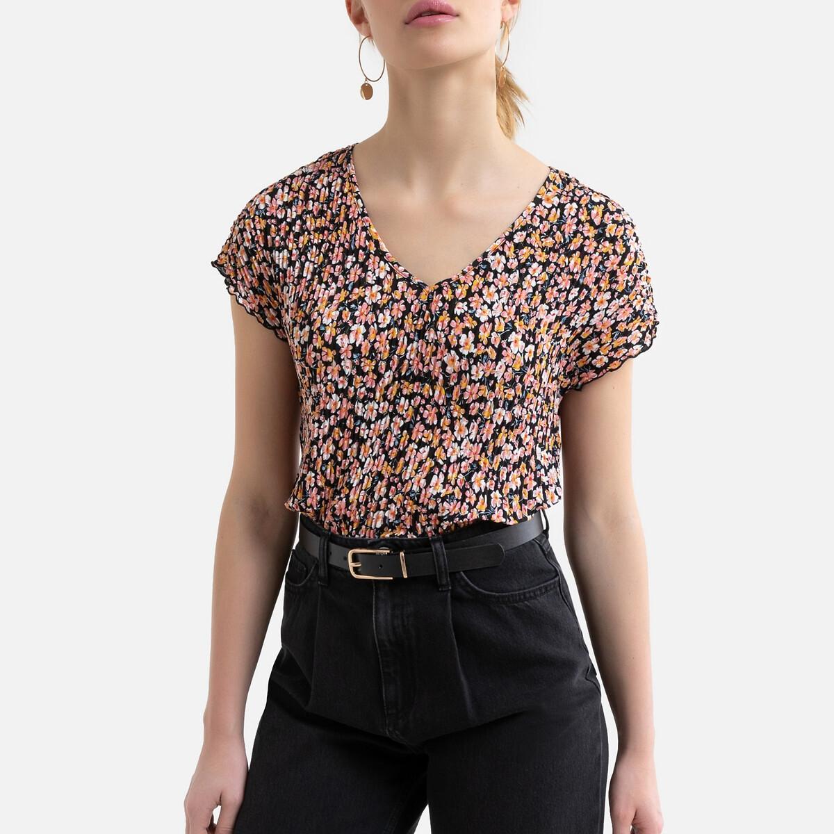Фото - Блузка LaRedoute С цветочным принтом короткими рукавами и V-образным вырезом M черный футболка laredoute из льна с v образным вырезом и короткими рукавами s черный
