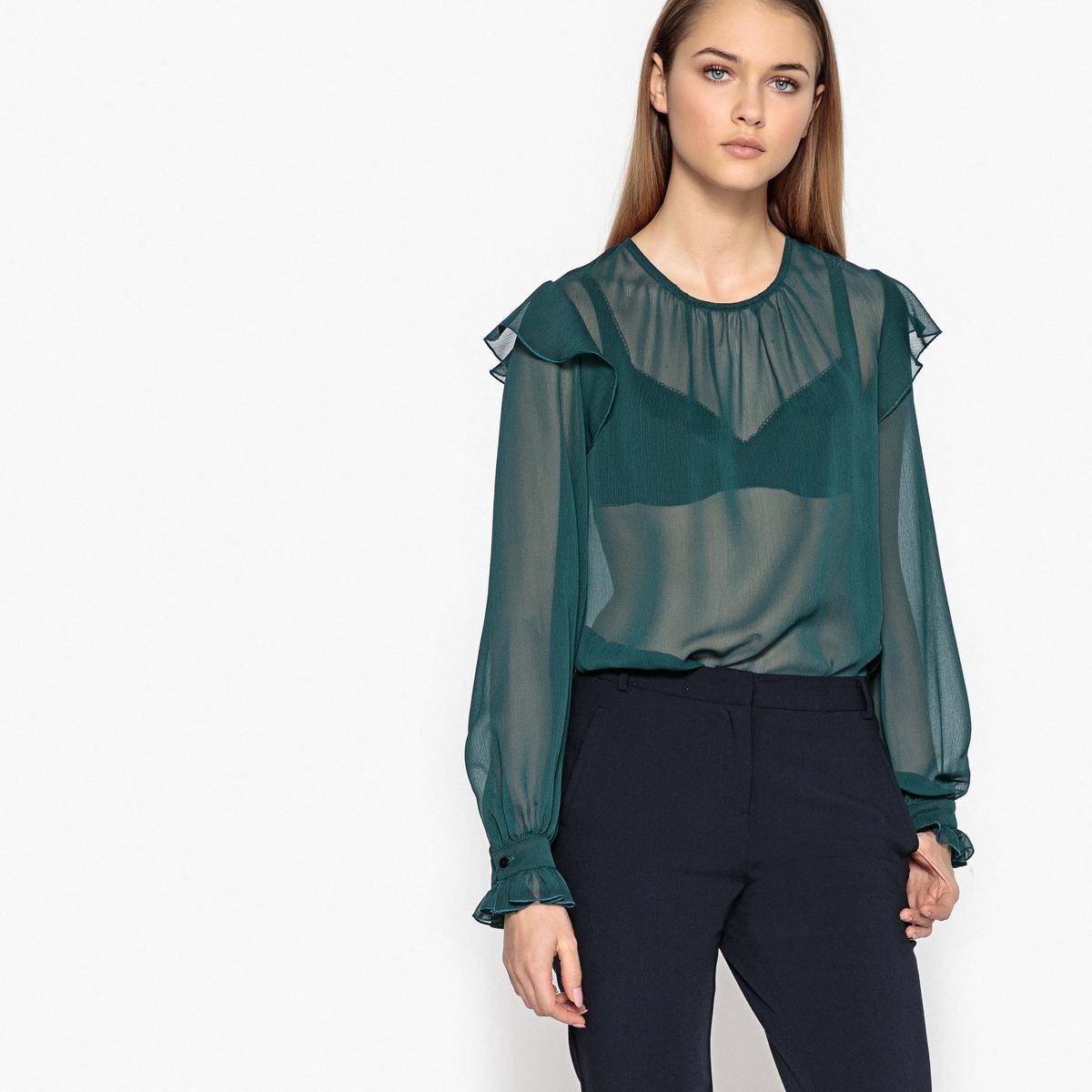 Блузка прозрачная с воланами