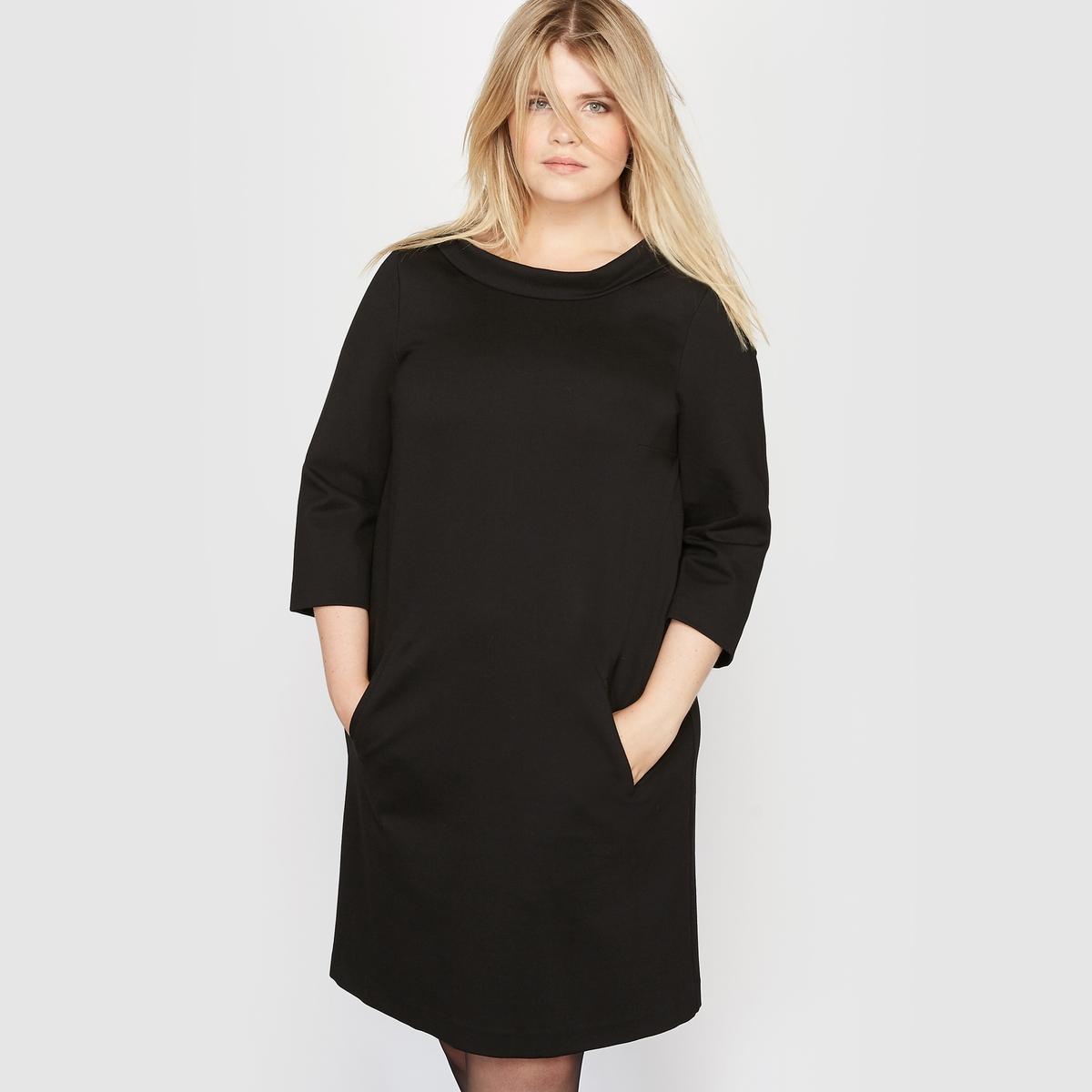Платье из плотного трикотажа, рукава 3/4Состав и описание :Материал : тяжелый и плотный трикотаж, 70% вискозы, 25% полиамида, 5% эластана.Длина : 94 см для размера 42. Марка : CASTALUNA.Уход :Машинная стирка при 30°.<br><br>Цвет: черный<br>Размер: 56 (FR) - 62 (RUS)