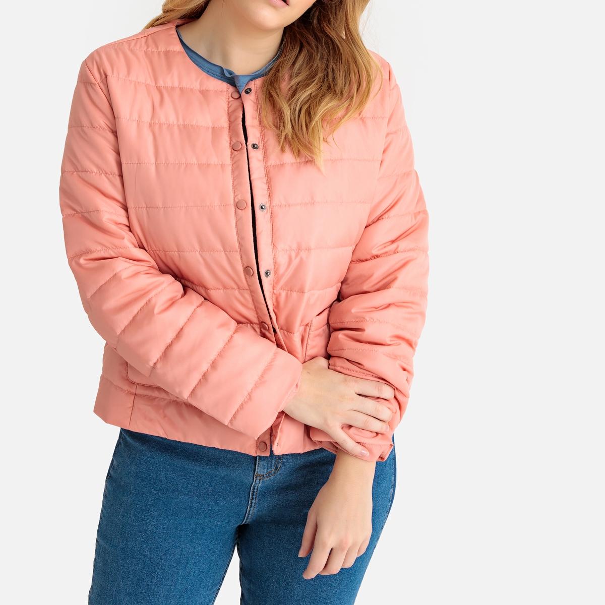 Куртка La Redoute Легкая с застежкой на кнопки 54 (FR) - 60 (RUS) розовый полуприлегающая куртка с застежкой на кнопки escada полуприлегающая куртка с застежкой на кнопки