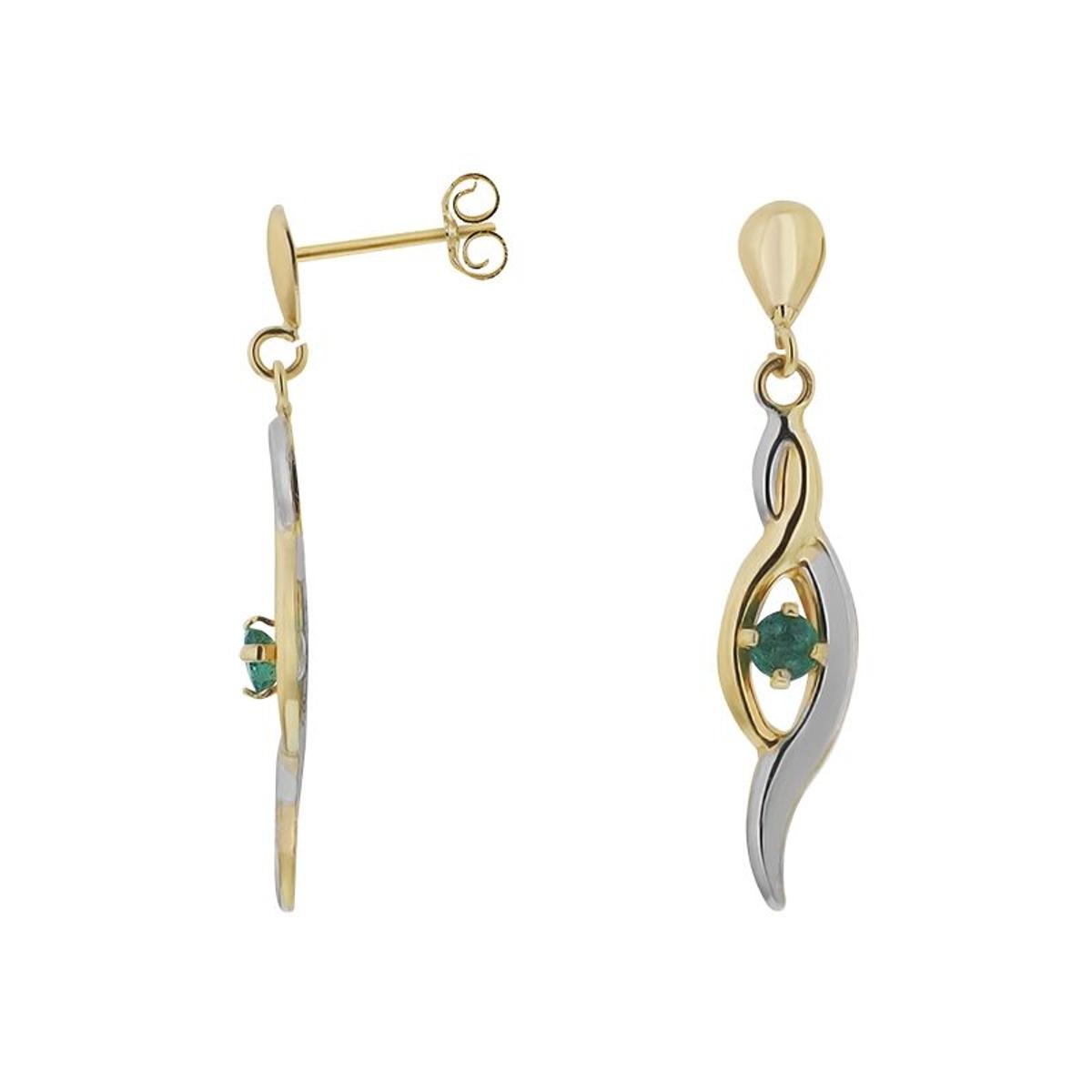Boucles d'oreilles en Or 375/1000 Jaune et Emeraude