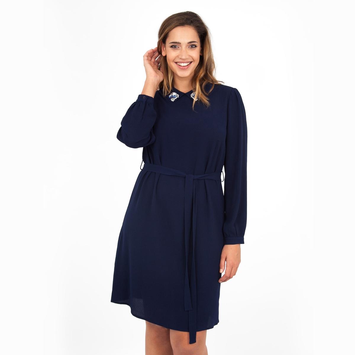 ПлатьеПлатье с длинными рукавами - LOVEDROBE. Красивая отделка выреза. Ремень на поясе. Длина ок.104 см. 100% полиэстера.<br><br>Цвет: темно-синий<br>Размер: 58/60 (FR) - 64/66 (RUS).46 (FR) - 52 (RUS)