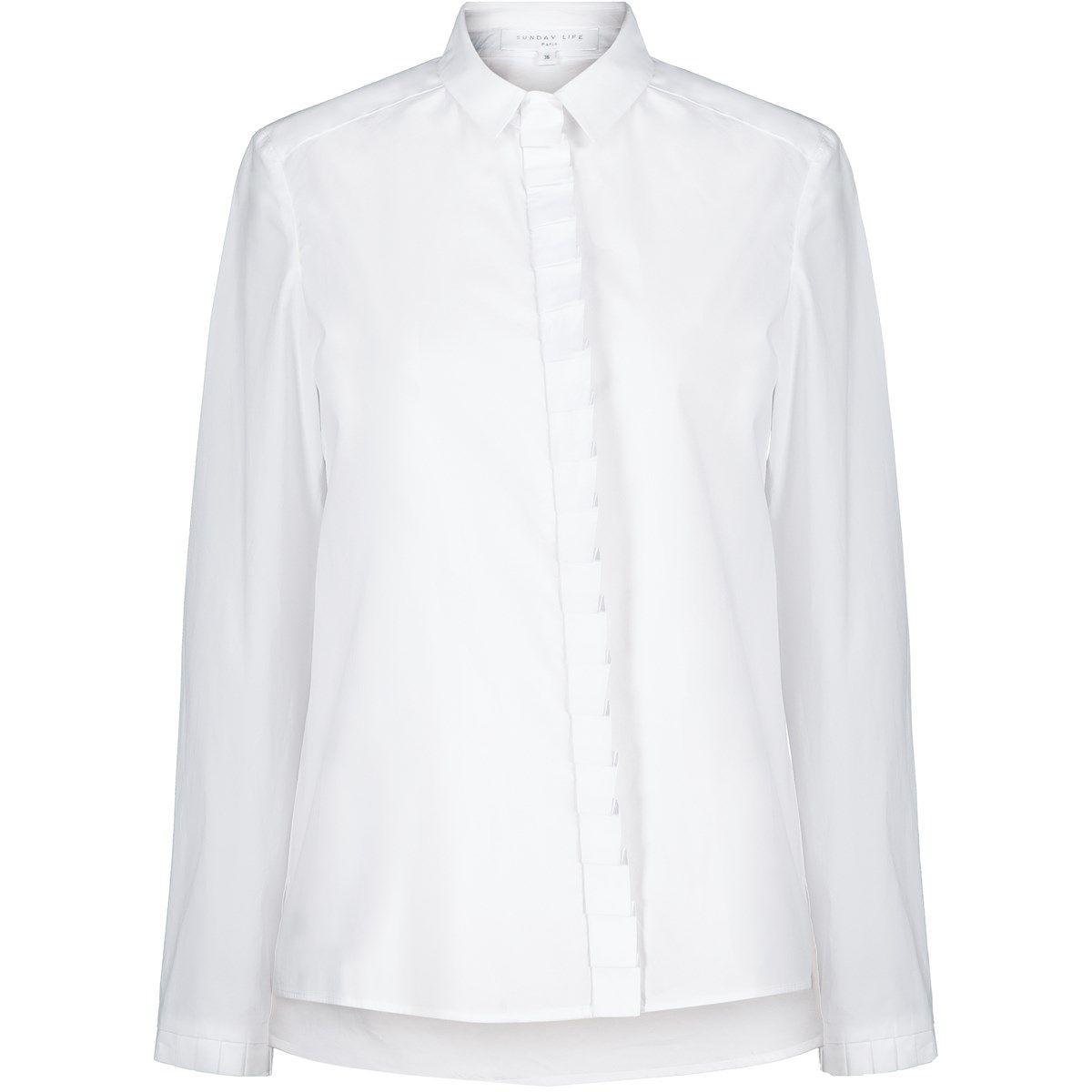 Chemise asymétrique Femme en coton manches longues