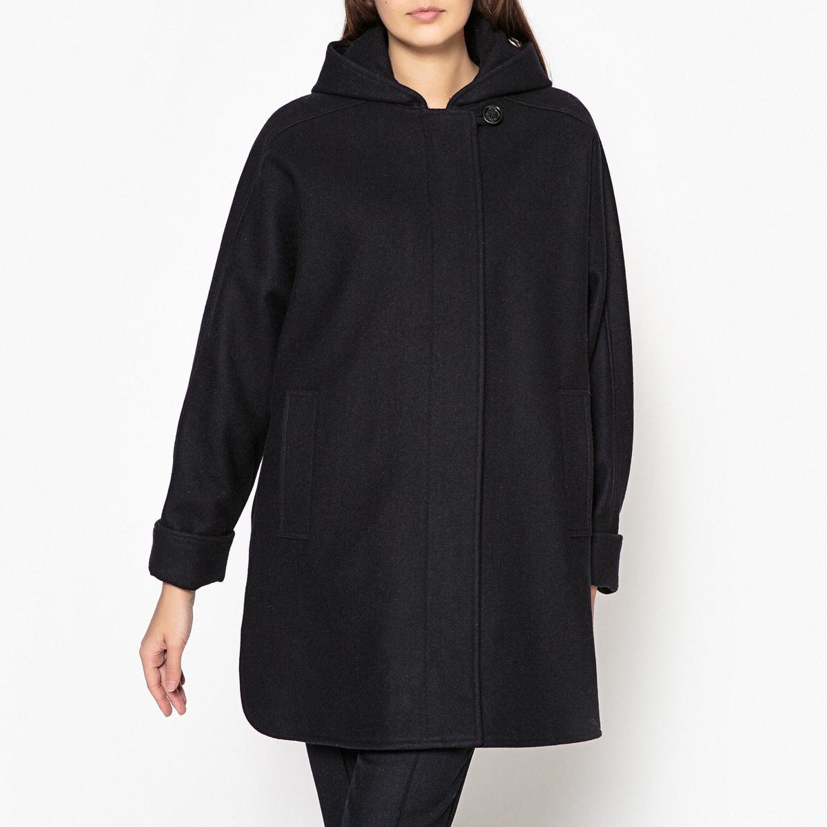 Пальто свободное с капюшоном NANAОписание:Пальто средней длины с капюшоном SESSUN - модель NANA широкий покрой из шерстяной ткани.Детали •  Длина : средняя •  Застежка на молнию •  С капюшономСостав и уход •  80% шерсти, 20% полиамида •  Следуйте советам по уходу, указанным на этикетке   •  2 боковых кармана •  Застёжка спереди<br><br>Цвет: темно-синий