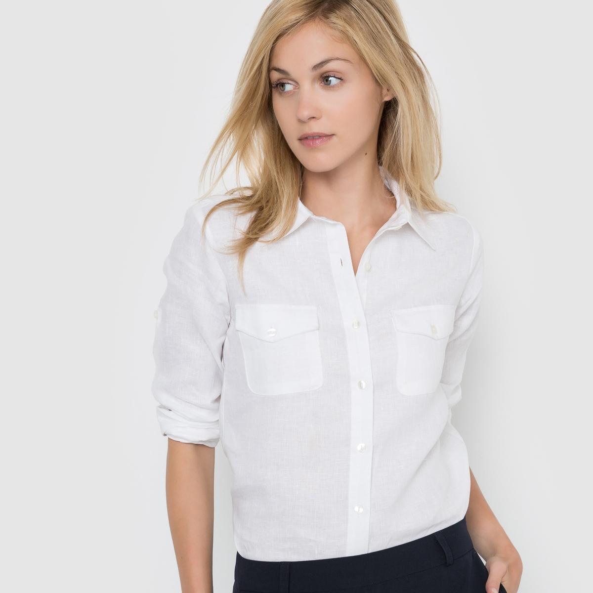 Рубашка с длинными рукавами, 100% ленРубашка из 100% льна. Длинные рукава можно отворачивать. Низ рукавов с пуговицами. Накладные карманы с клапанами на пуговицах. Закругленный низ. Длина ок.67 см.<br><br>Цвет: белый,желто-каштановый,розовый-вишневый,серо-бежевый<br>Размер: 34 (FR) - 40 (RUS)