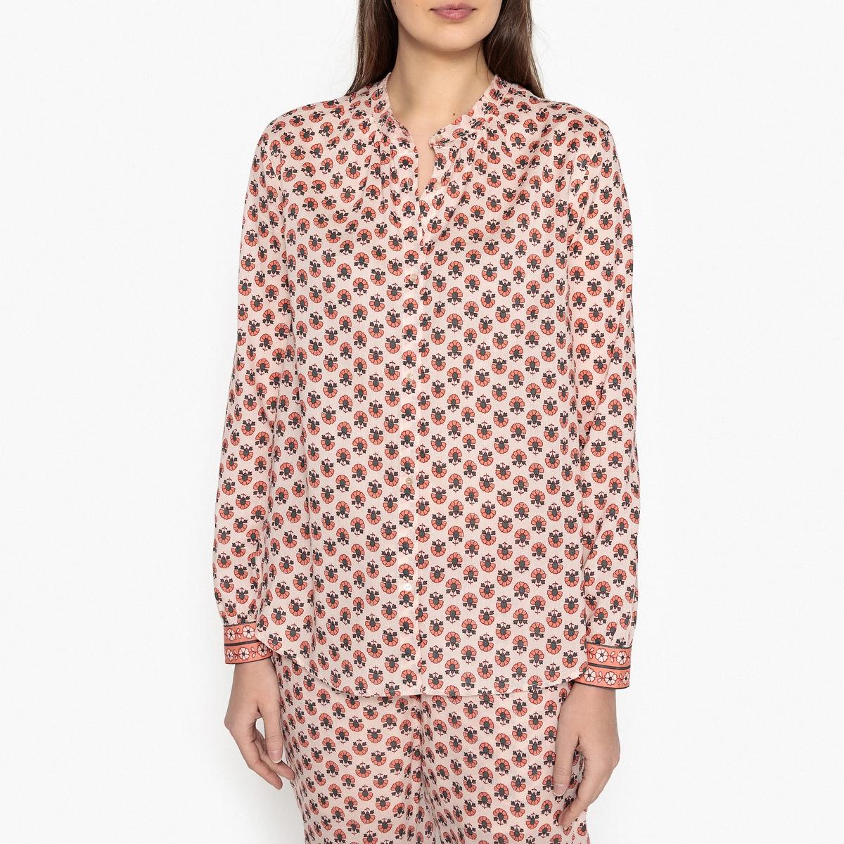 Рубашка с принтом и воротником-стойкой рубашка с рисунком и классическим воротником