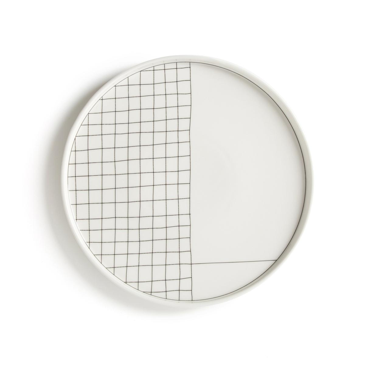 Комплект из 4 плоских тарелок LaRedoute Acao единый размер белый