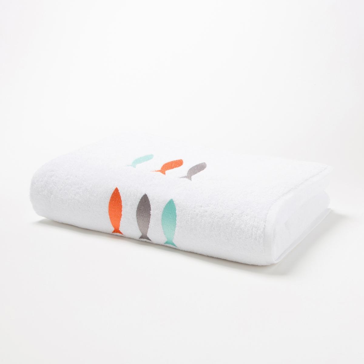 Полотенце банное с вышивкой рыбки, Fish Brod? .Характеристики банного полотенца :100% хлопок.500г/м2.Машинная стирка при 60 °С.Размер  :50 x 100 см.УходМашинная стирка при 60 °С.Возможна машинная сушка.<br><br>Цвет: белый<br>Размер: 50 x 100  см