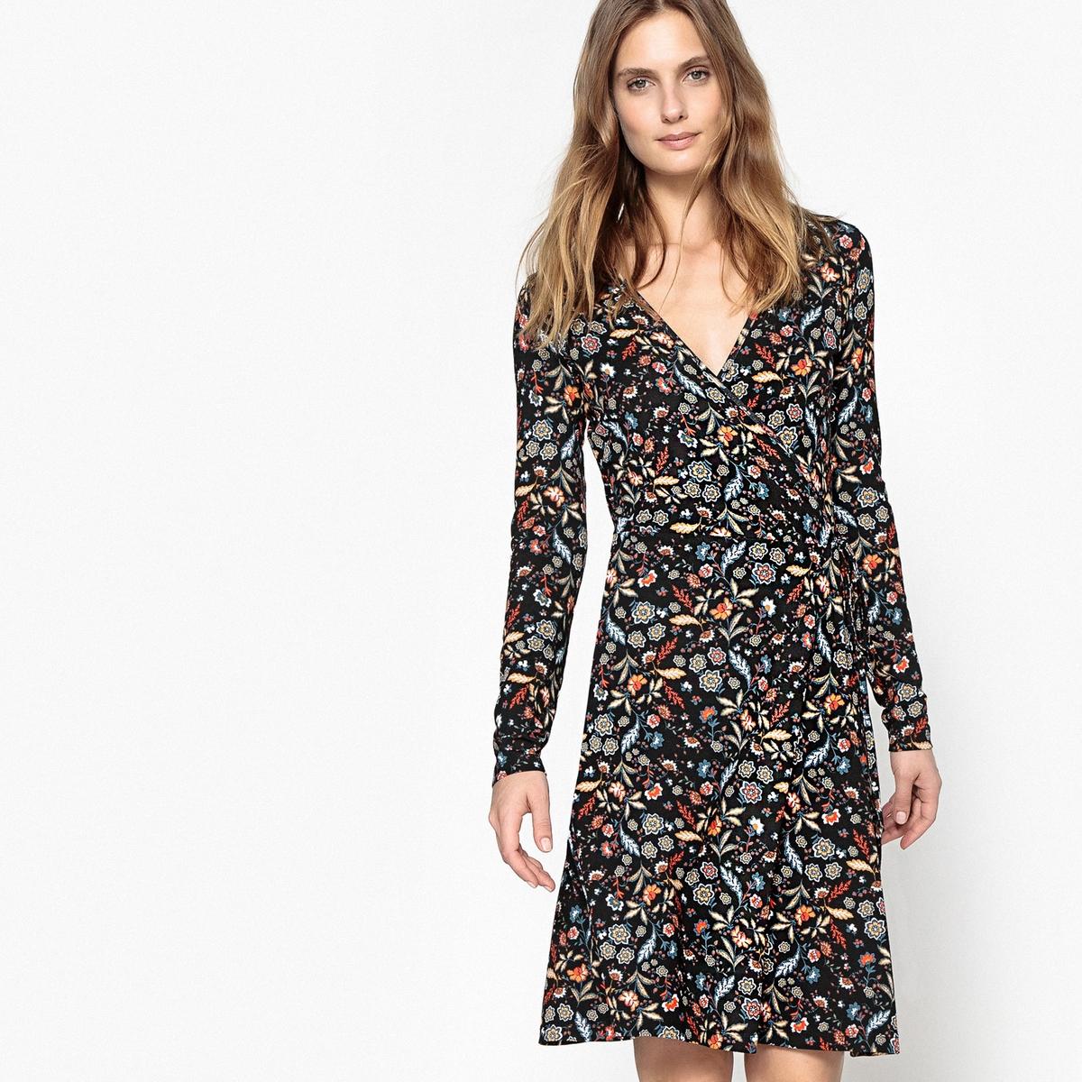 Платье с запахом с цветочным рисунком