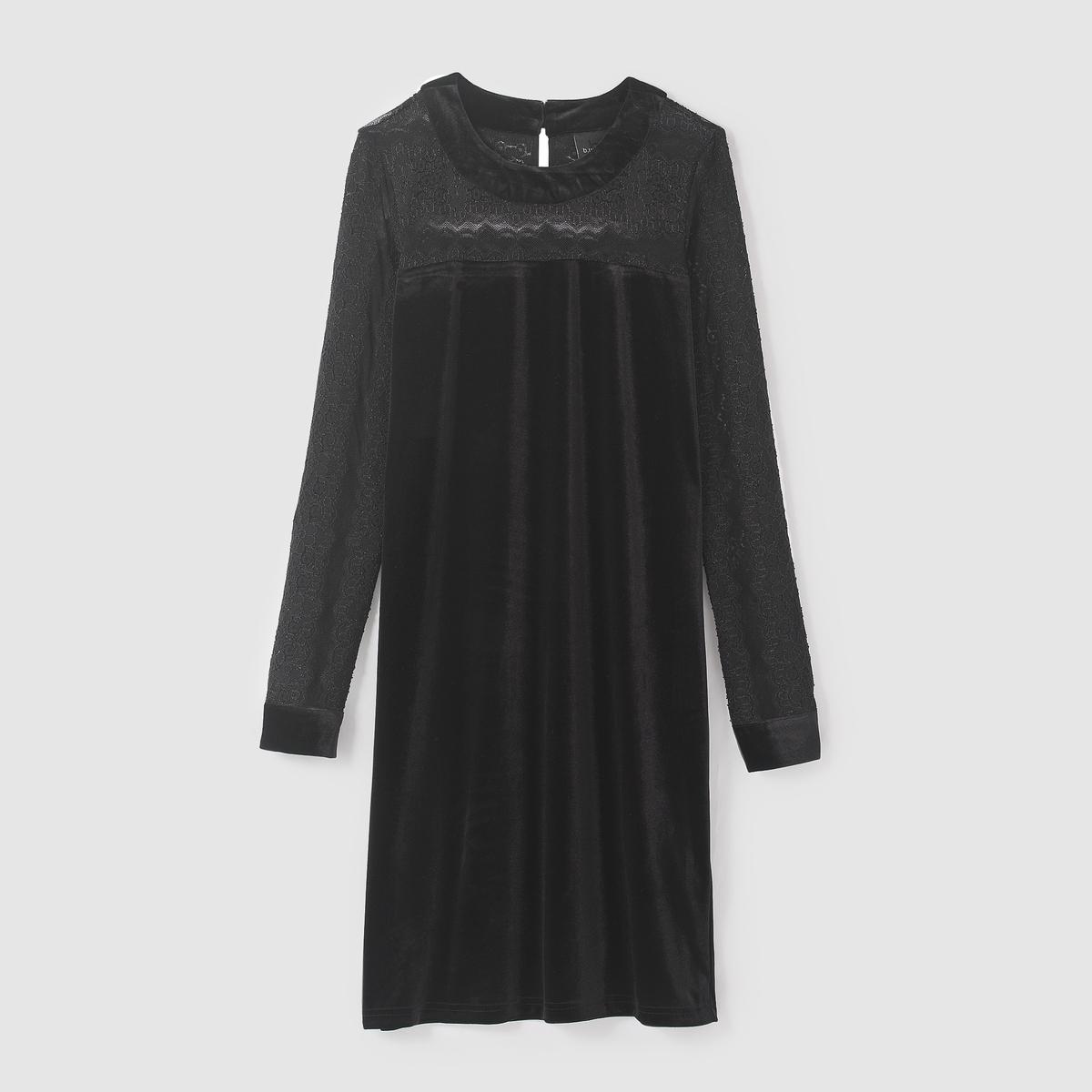 Платье однотонное короткое, длинные рукаваДетали   •  Форма :прямое  •  короткое  •  Длинные рукава    •  Круглый вырезСостав и уход • 27% хлопка, 4% эластана, 69% полиэстера  •  Следуйте советам по уходу, указанным на этикетке<br><br>Цвет: черный<br>Размер: 38 (FR) - 44 (RUS).36 (FR) - 42 (RUS)
