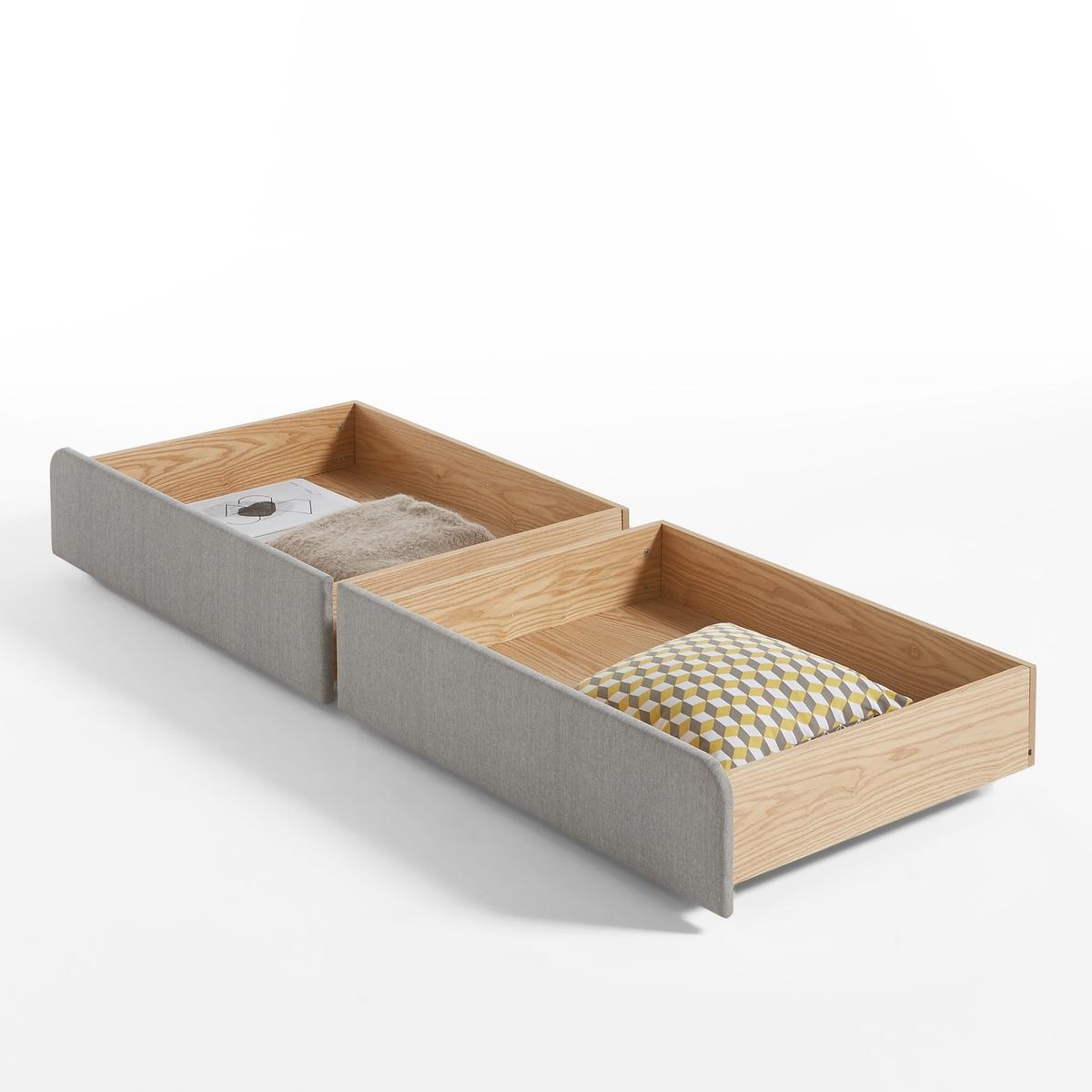 Ящики для подкроватного хранения  ELORI (2 шт.)Комплект из 2 ящиков для подкроватного хранения  ELORI. Подходит для кровати Elori, продающейся на нашем сайте.Незаметные ящики для хранения позволяют экономить пространство.Характеристики 2 ящиков для подкроватного хранения ELORI :- Каркас из сосновой фанеры и МДФ из ясеня. - Отделка нитроцеллюлозным лаком.- Фасад с наполнителем из полиэфирной пены 20 кг/м?.- Тканевая обивка из 100 % полиэстера.- На однонаправленных колесиках.Все предметы мебели для спальни Вы найдете на laredoute.ruРазмеры 2 ящиков для хранения Elori :- Для кровати 140 x 190 см:Ш. 92,5 см.Г. 69,5 см.В. 22 см.Полезные размеры :Ш. 81,5 см.Г. 65,5 см.В. 13 см.Для кровати 160 x 200 см:Ш. 97,5 см.Г. 69,5 см.В. 22 см.Полезные размеры :Ш. 86,5 см.Г. 65,5 см.В. 13 см.Размеры и вес упаковки:1 упаковка :Размер 140 : Ш.100 x В.15 x Г.75 см. Вес 23 кг.Размер 160 : Ш.105 x В.15 x Г.75 см. Вес 24 кг.<br><br>Цвет: серый