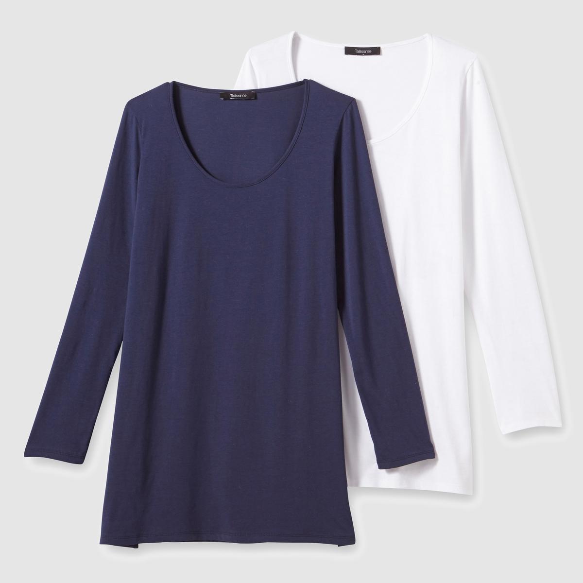 Комплект из 2 футболок с длинными рукавами из хлопкаСостав и описание :Материал : Трикотаж, 100% хлопка.Длина : 72 см.Марка : CASTALUNA.Уход :Машинная стирка при 30 °C в деликатном режиме.<br><br>Цвет: белый + темно-синий,черный + серый меланж<br>Размер: 42/44 (FR) - 48/50 (RUS).46/48 (FR) - 52/54 (RUS).50/52 (FR) - 56/58 (RUS).62/64 (FR) - 68/70 (RUS).46/48 (FR) - 52/54 (RUS).62/64 (FR) - 68/70 (RUS)
