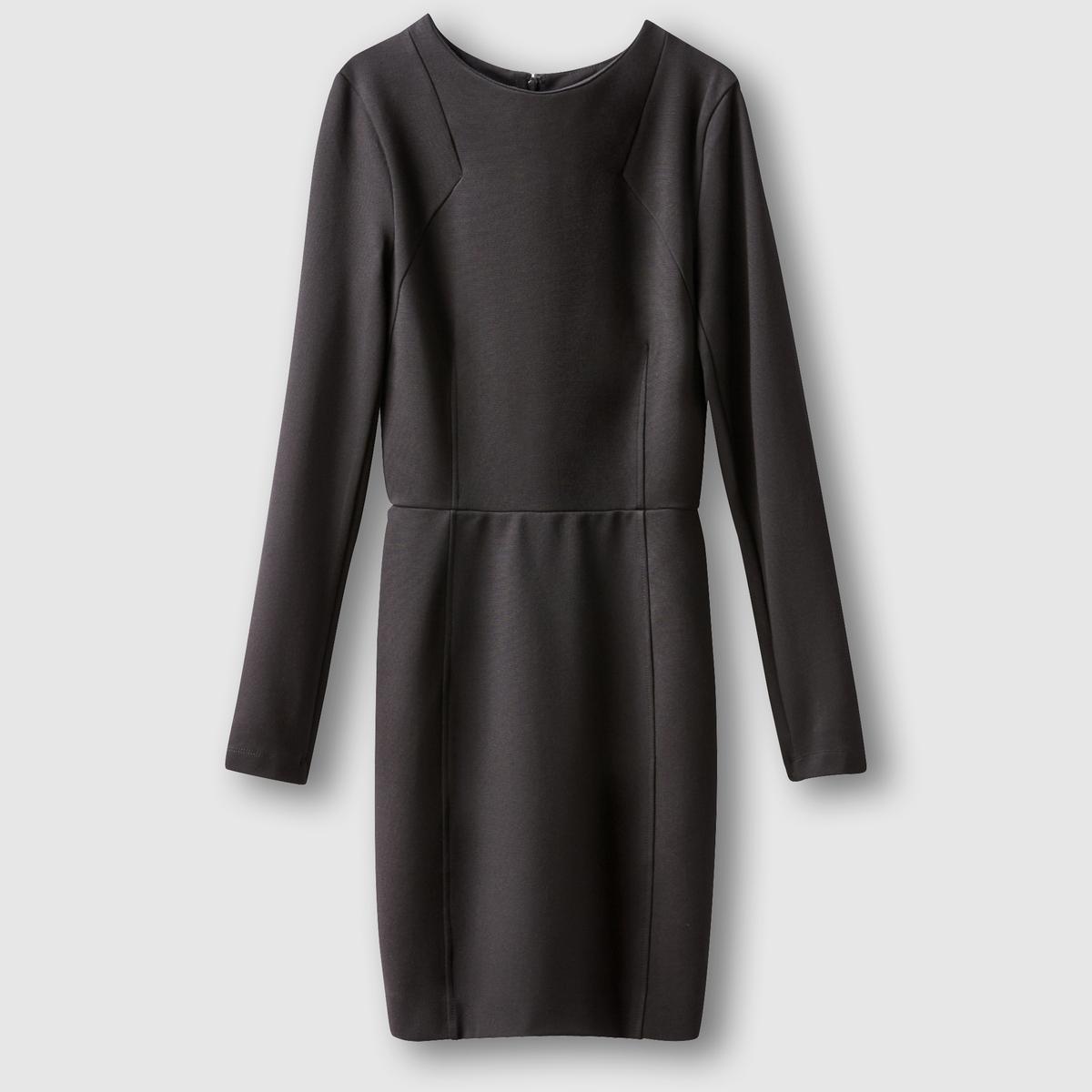 Платье с длинными рукавамиСостав и описание: Материал: 100% вискозы.Марка: French Connection.Застежка: на молнию сзади.<br><br>Цвет: кремовый,черный<br>Размер: 40 (FR) - 46 (RUS).42 (FR) - 48 (RUS)