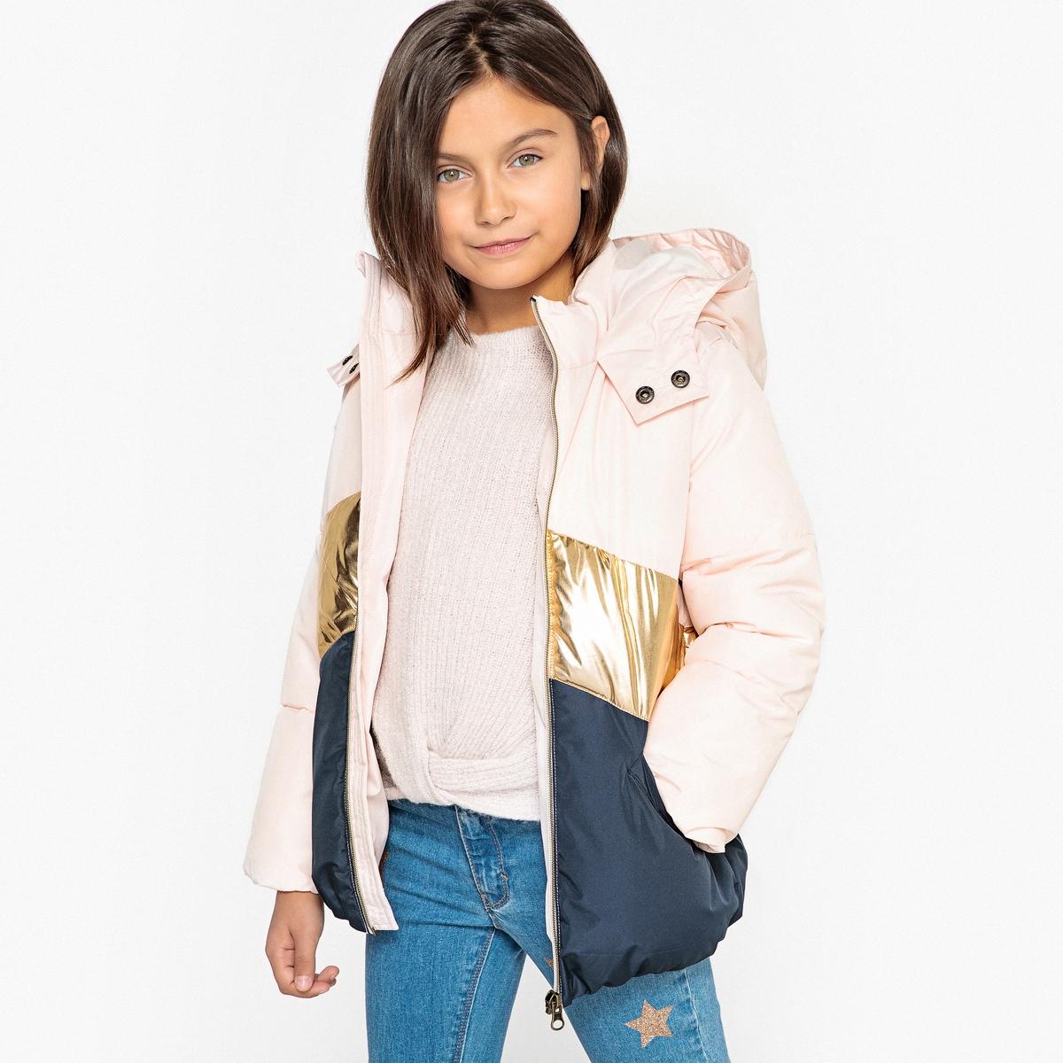 Куртка стеганая  зигзагообразным рисунком  капюшоном, 3-12 лет