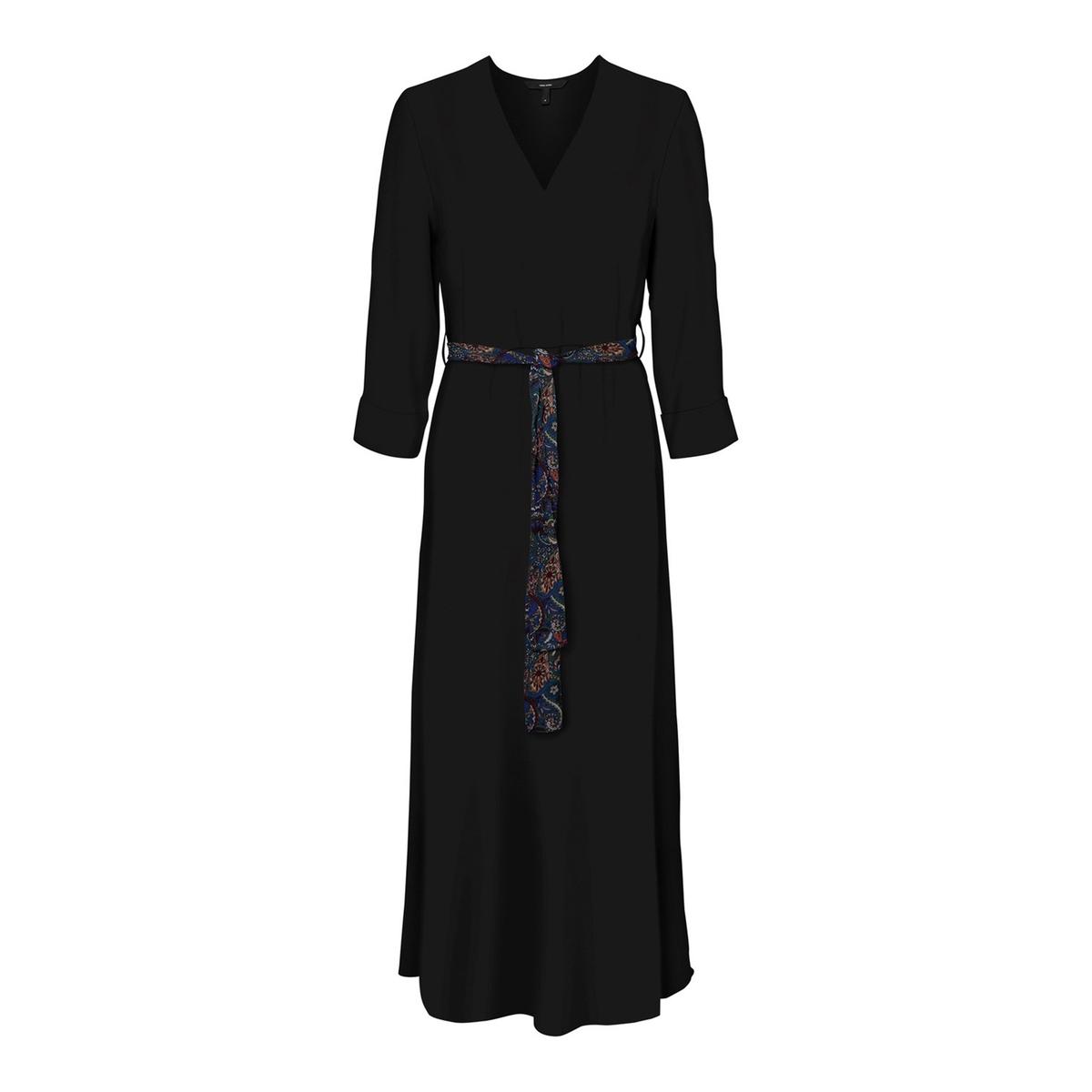Платье La Redoute Длинное с запахом и кашемировым принтом S черный
