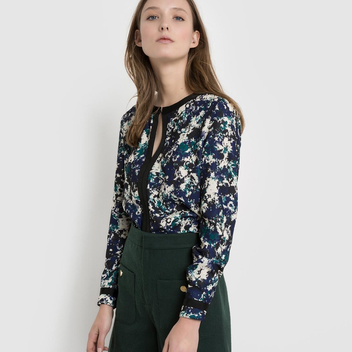 Блузка с рисунком и длинными рукавами блузка с рисунком с длинными рукавами