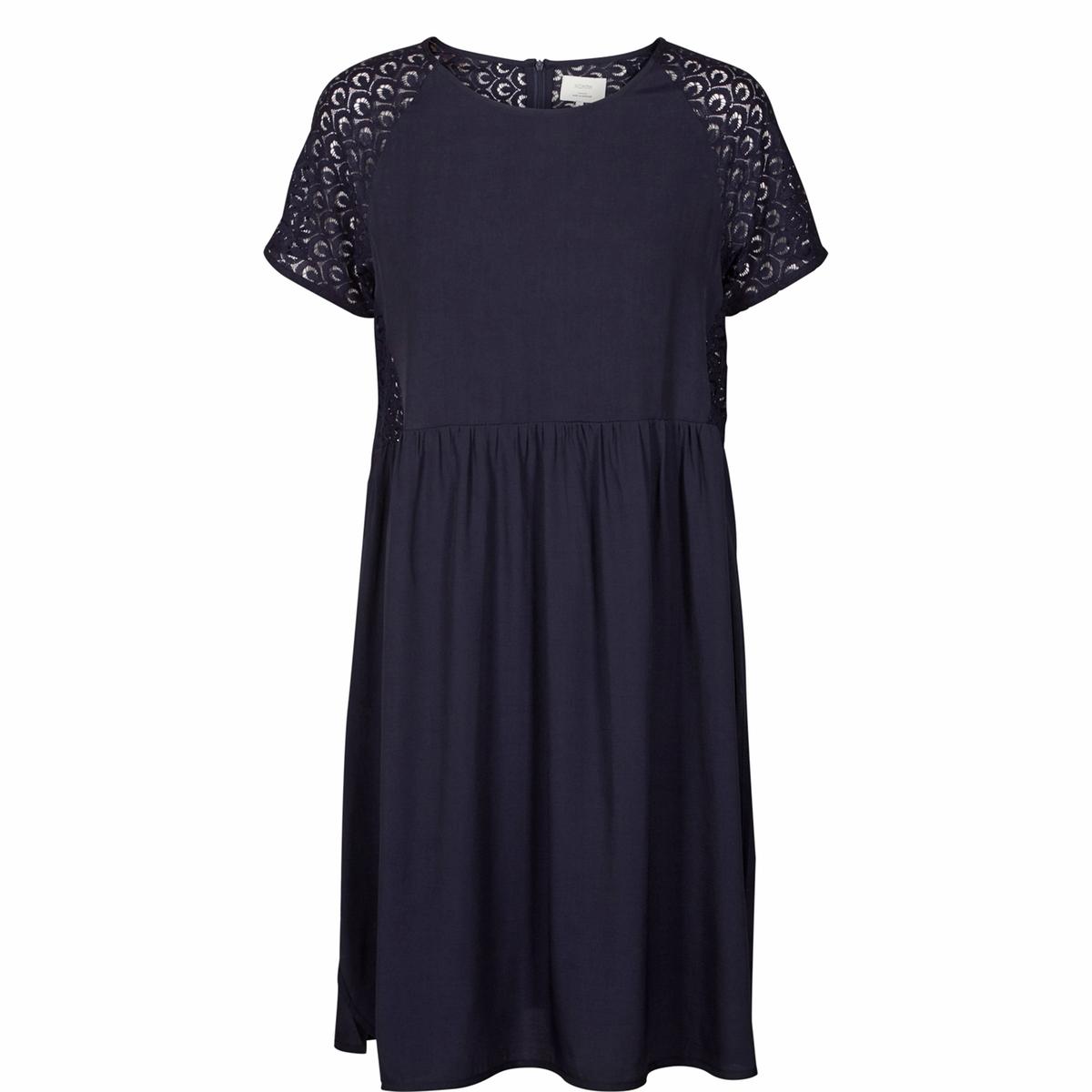 Платье с короткими рукавами, рукава и спинка из ажурного кружева