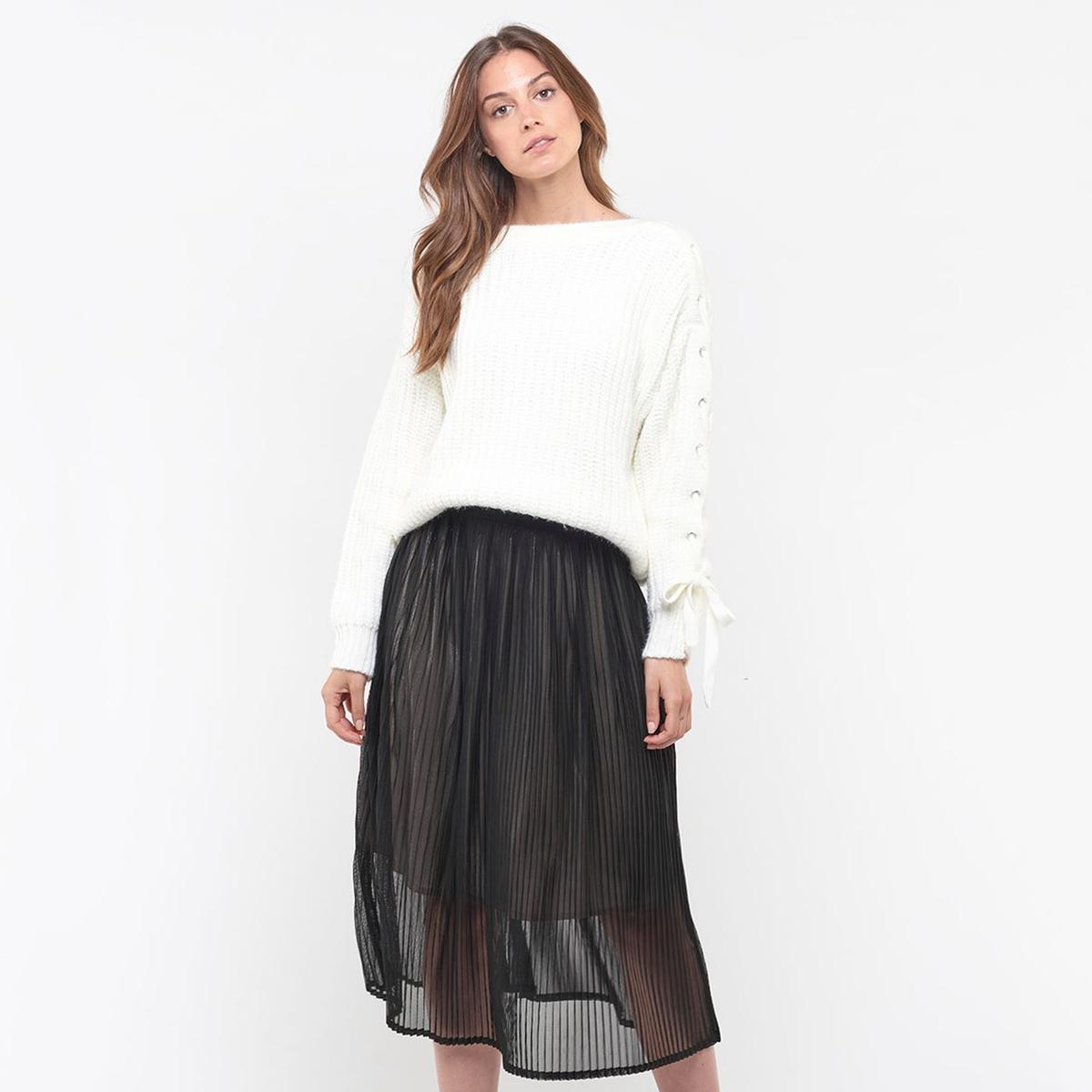Пуловер La Redoute Из плотного трикотажа со шнуровкой на рукавах L белый пуловер la redoute из тонкого трикотажа со шнуровкой l бежевый