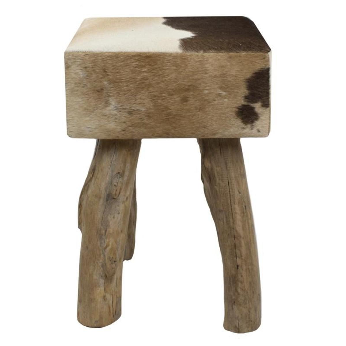 Tabouret carré en cuir brun foncé