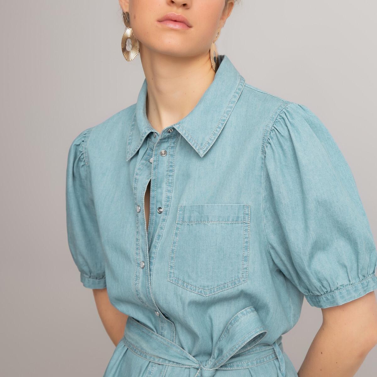 Платье-рубашка LaRedoute Длинное из денима напускные рукава 50 (FR) - 56 (RUS) синий