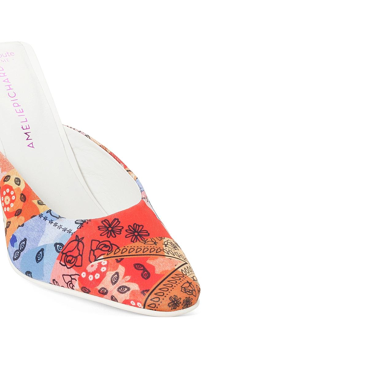 Туфли без задника тканевыеОписание:Детали  •  Туфли без задника •  Застежка : без застежки •  Заостренный мысок •  Гладкая отделкаСостав и уход  •  Верх 100% полиэстер •  Подкладка 100% кожа<br><br>Цвет: разноцветный<br>Размер: 36.37