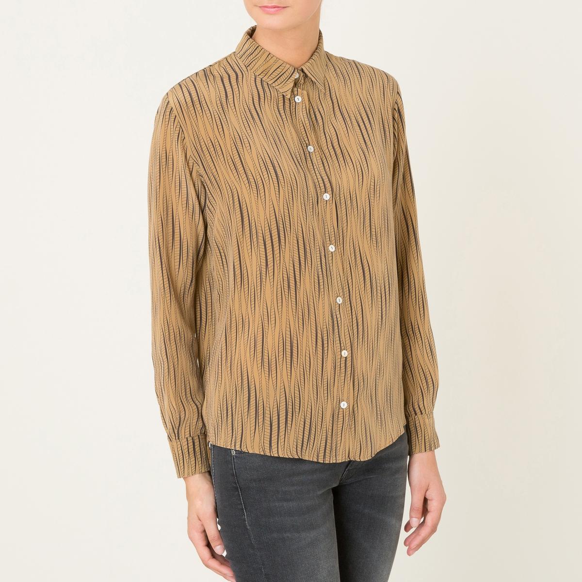 Рубашка SILVIAРубашка DIEGA - модель SILVIA . Сплошной принт. Заостренные края воротника. Перед и манжеты на пуговицах  . Закругленный низ, более длинная спинка .Состав &amp; Детали Материал : 100% шелк.Марка : DIEGA<br><br>Цвет: охра