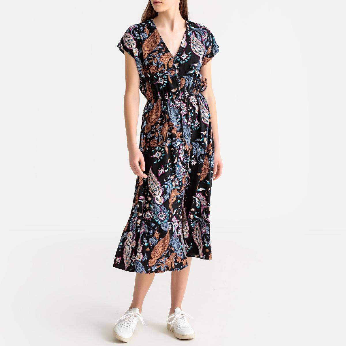 Платье La Redoute Длинное с цветочным рисунком и короткими рукавами S черный цена