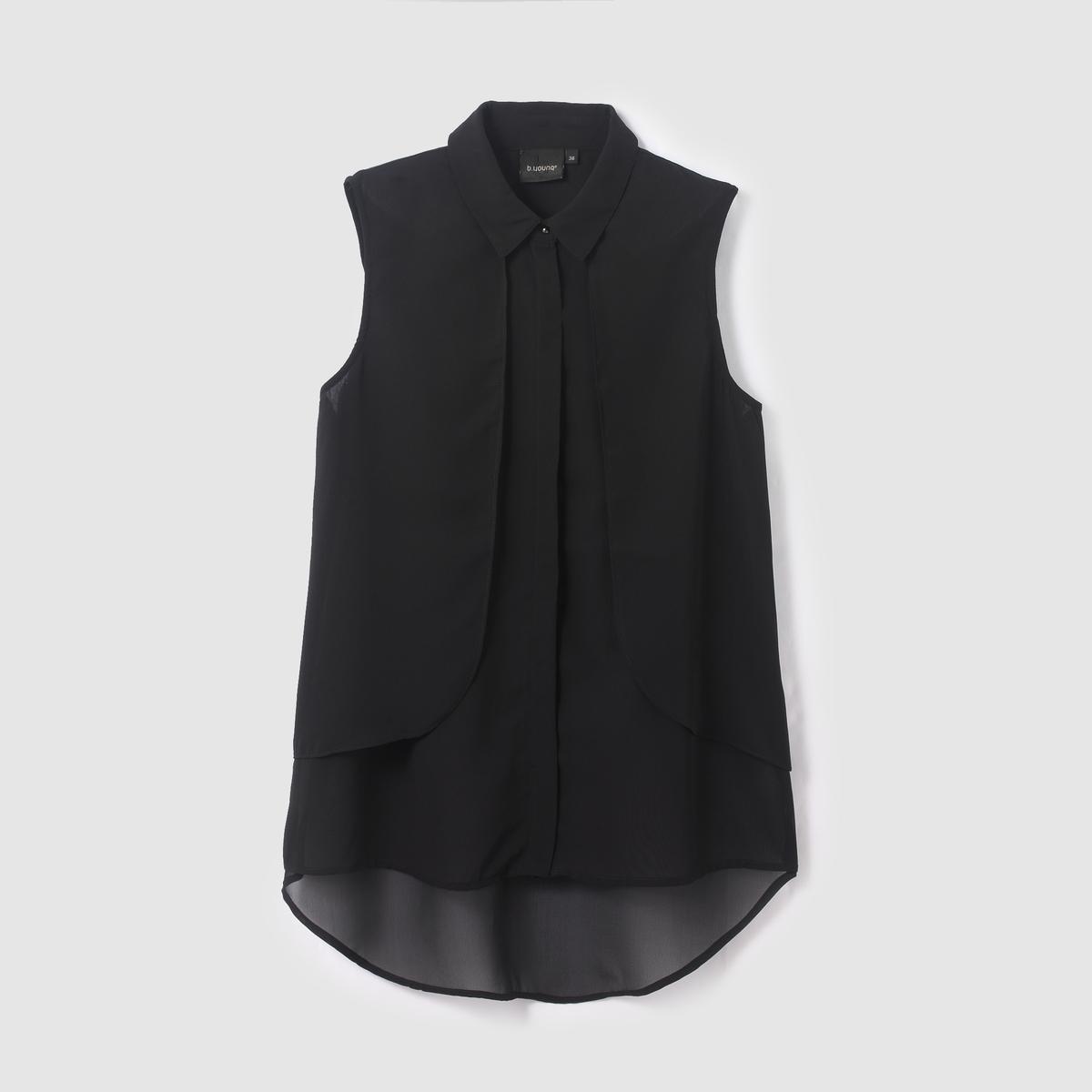 Блузка без рукавов GAWN TOPБлузка без рукавов GAWN TOP от B.YOUNG . Блузка прямого покроя. Рубашечный воротник со свободными уголками. Вырез с воланами спереди. Состав и описание :Материал : 100% полиэстерМарка : B.YOUNG<br><br>Цвет: черный