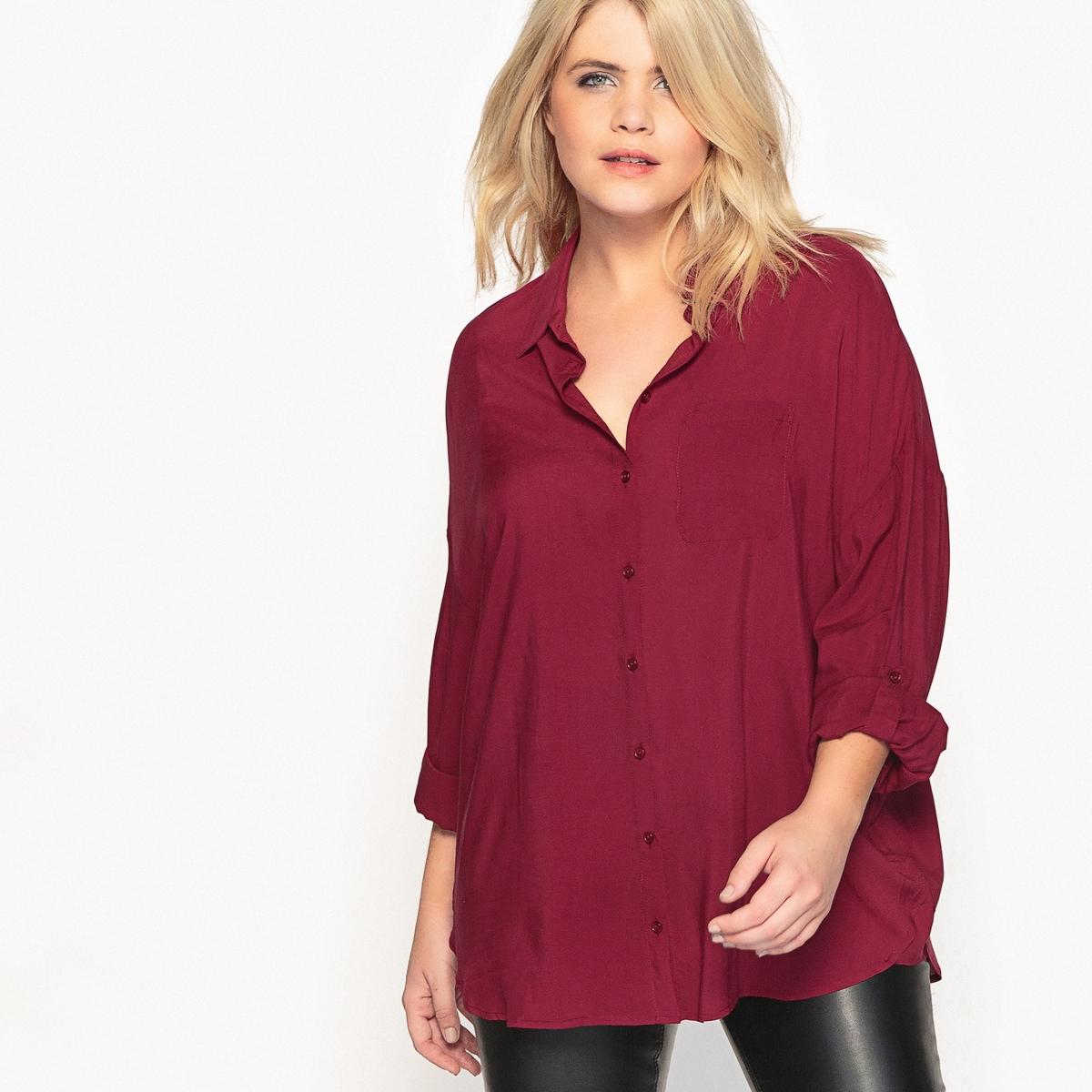 Рубашка струящаяся с закатывающимися рукавамиВам понравится эта длинная рубашка. Идеально смотрится с леггинсами. Рубашка с длинными рукавами - базовый предмет женского гардероба.Детали •  Длинные рукава •  Прямой покрой  •  Воротник-поло, рубашечный Состав и уход •  100% вискоза  •  Температура стирки 30° на деликатном режиме   •  Сухая чистка и отбеливание запрещены •  Не использовать барабанную сушку   •  Низкая температура глажкиТовар из коллекции больших размеров<br><br>Цвет: вишневый,слоновая кость,черный<br>Размер: 56 (FR) - 62 (RUS).52 (FR) - 58 (RUS).46 (FR) - 52 (RUS).50 (FR) - 56 (RUS).62 (FR) - 68 (RUS).56 (FR) - 62 (RUS).48 (FR) - 54 (RUS)